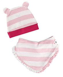 Pinehill Stripes Cap & Bib Set - Pink And White