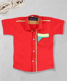 Knotty Kids Shirt With Stylish Pocket - Red