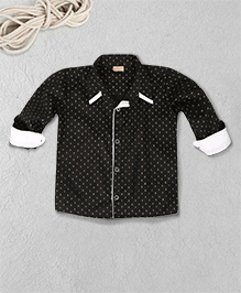 Knotty Kids Anchor Print Full Sleeve Shirt - Black