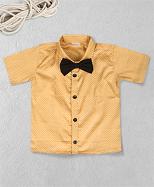 Knotty Kids Half Sleeve Printed Shirt With Bow - Khaki