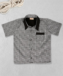 Knotty Kids Half Sleeves Checkered Shirt - Black