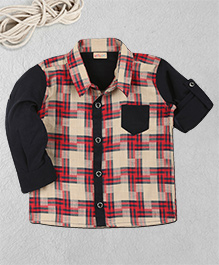 Knotty Kids Checks Full Sleeves Shirt With Front Pocket - Red
