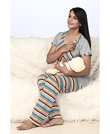 Valentine Short Sleeves Maternity Top And Stripe Pajama - Grey