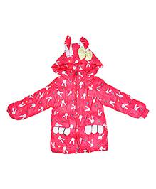 LOL Full Sleeves Bunny Printed Hooded Jacket - Pink