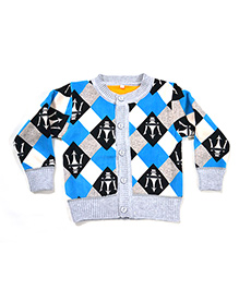 LOL Full Sleeves Knit Design Sweater - Blue & Grey