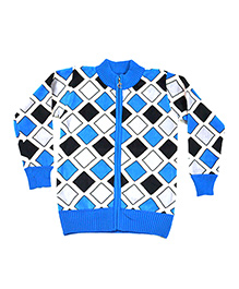 LOL Full Sleeves Front Zipper Style Sweater - Blue & White