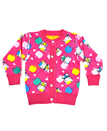 LOL Full Sleeves Cartoon Knit Design Sweater - Pink