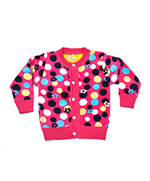 LOL Full Sleeves Floral And Polka Dot Knit Design Sweater - Pink