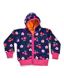 LOL Full Sleeves Floral Printed Jacket - Navy & Pink