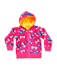 LOL Full Sleeves Bow Print Hooded Sweat Jacket - Pink