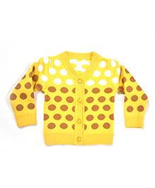 LOL Full Sleeves Polka Dots Design Sweater  - Yellow