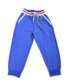 LOL Full Length Dots Print Track Pants - Royal Blue