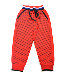LOL Full Length Dots Print Track Pants - Red