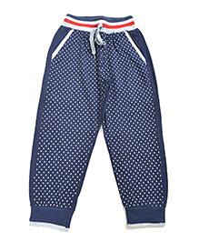 LOL Full Length Dots Print Track Pants - Navy