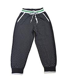 LOL Full Length Dots Print Track Pants - Black