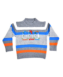LOL Full Sleeves Stripes Sweater - Grey Orange Blue