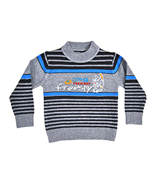 LOL Full Sleeves Stripes Sweater - Grey Blue