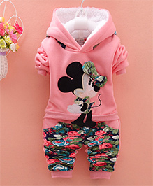 Tickles 4 U Warm Cartoon Applique Top With Floral Pants - Pink