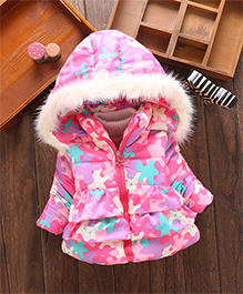 Tickles 4 U Quilted Jacket With Furry Lining On Hood - Pink