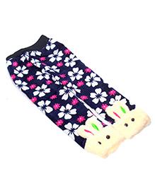 Tickles 4 U Warm Leggings With Floral Print - Blue