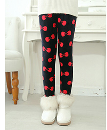 Tickles 4 U Warm Leggings With Bow Print - Black & Red