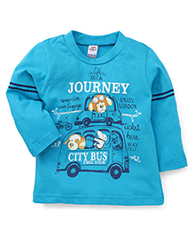 Zero Full Sleeves T-Shirt City Bus Print - Light Blue