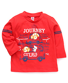 Zero Full Sleeves T-Shirt City Bus Print - Red