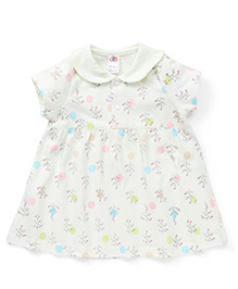 Zero Short Sleeves Printed Frock - Off White