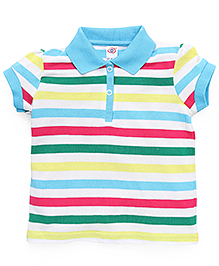 Zero Half Sleeves Stripes T-Shirt - Blue Multicolor