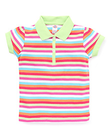 Zero Half Sleeves Stripes T-Shirt - Green Multicolor