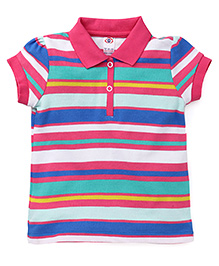 Zero Half Sleeves Stripes T-Shirt - Pink Multicolor