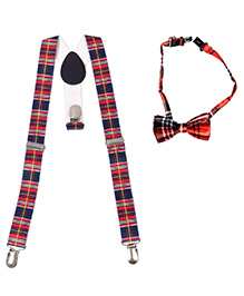 Miss Diva Smart Check Suspender & Bow Set - Red & Blue