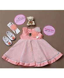 Rose Couture Magic Box Flower Applique Party Wear Dress Set - Peach