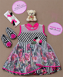 Rose Couture Magic Box Striped Floral Dress Set - Pink