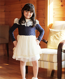 Dress My Angel Royal Gem Dress With Elegant Shoulder Lace - Blue