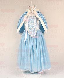 Pre Order - Awabox Christmas Cloak Pattern Party Dress - Blue