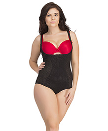 Clovia Body Shaper With Detachable Straps & Hidden Zip - Black