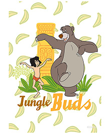 Orka Wall Poster Jungle Book Buds Digital Print With Lamination - White And Yellow