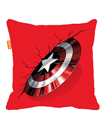 Orka Captain America Shield Digital Printed Micro Beads Cushion - Red