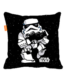 Orka Storm Trooper Digital Printed Micro Beads Cushion - Black And White