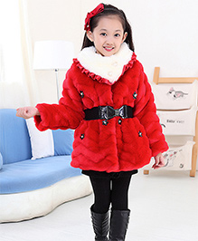 Awabox Fur Coat With Studded Flowers & Belt On Waist - Red