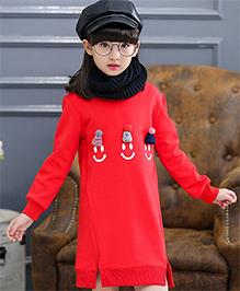 Pre Order - Awabox Thick Fleece Unlined Upper Garment Dress - Red