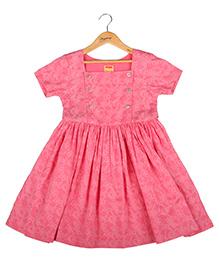Hugsntugs Floral Print Dress With Golden Buttons - Pink