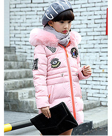 Awabox Fur Collar Thick Coat For Winters - Pink
