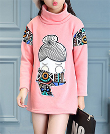 Pre Order - Awabox Abstract Print High Neck Warm Dress - Pink