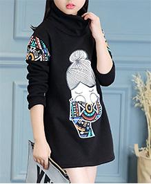 Pre Order - Awabox Abstract Print High Neck Warm Dress - Black