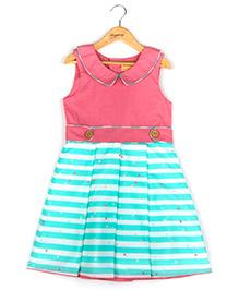Hugsntugs Collar Dress With Stripe Print - Sea Green White & Pink