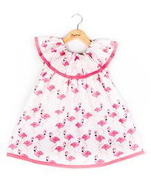 Hugsntugs Flamingo Print Dress - Pink