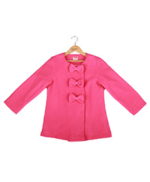 Hugsntugs Bow Front Open Jacket - Pink