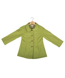 Hugsntugs Collar Neck Front Open Jacket - Green